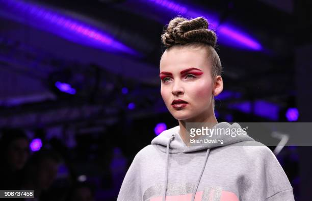 Patrizia Palme walks the runway during the Maybelline Show 'Urban Catwalk Faces of New York' at Vollgutlager on January 18 2018 in Berlin Germany