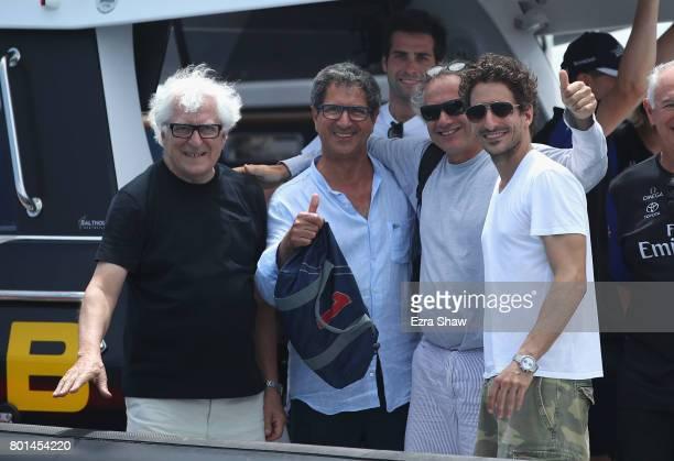 Patrizio Bertelli, Agostino Randazzo, Matteo Plazzi, Lorenzo Bertelli pose for a picture on board of the yacht Imagine after Emirates Team New...