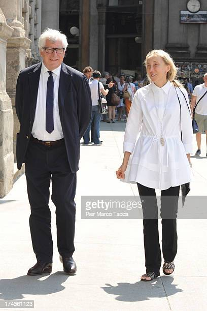 Patrizio Bertelli and Carla Sozzani, members of Board Chamber of Fashion attend a meeting with the Mayor of Milan Giuliano Pisapia to develop the...