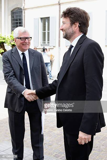 Patrizio Bertelli and Dario Franceschini attend Fondazione Prada Press Conference on May 2, 2015 in Milan, Italy.