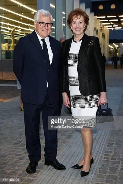 Patrizio Bertelli and Letizia Moratti attend the Fondazione Prada Opening on May 4, 2015 in Milan, Italy.