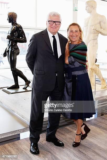Patrizio Bertelli and Miuccia Prada attend Fondazione Prada Press Conference on May 2, 2015 in Milan, Italy.