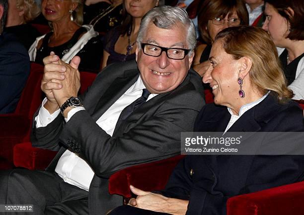 Patrizio Bertelli and Miuccia Prada attend the 2010 Carlo Porta Award held at Teatro Manzoni on November 22, 2010 in Milan, Italy.
