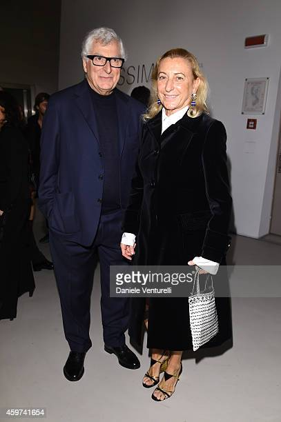 Patrizio Bertelli and Miuccia Prada attend the Bulgari Gala Dinner Exhibition at Maxxi Museum on November 29, 2014 in Rome, Italy.