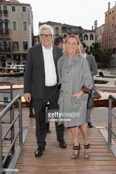 """Patrizio Bertelli and Miuccia Prada attend the opening cocktail of """"When Attitudes Become Form: Bern 1969/Venice 2013"""" exhibition at Fondazione..."""