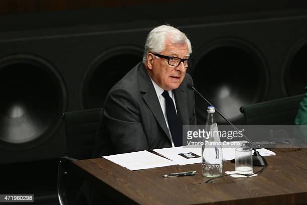 Patrizio Bertelli attends Fondazione Prada Press Conference on May 2, 2015 in Milan, Italy.