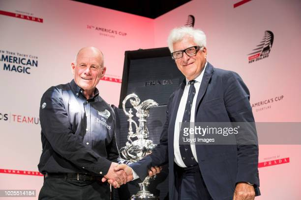 Patrizio Bertelli CEO of Prada and Grant Dalton the CEO of Emirates Team New Zealand pose at the 36th America's Cup Overture as part of the launch...