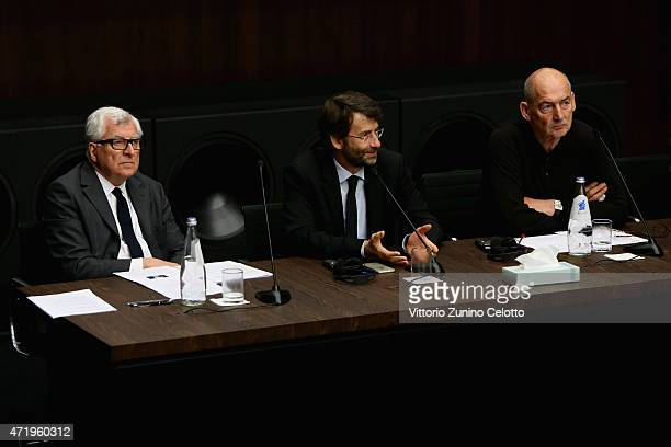 Patrizio Bertelli, Dario Franceschini and Rem Koolhaas attend Fondazione Prada Press Conference on May 2, 2015 in Milan, Italy.