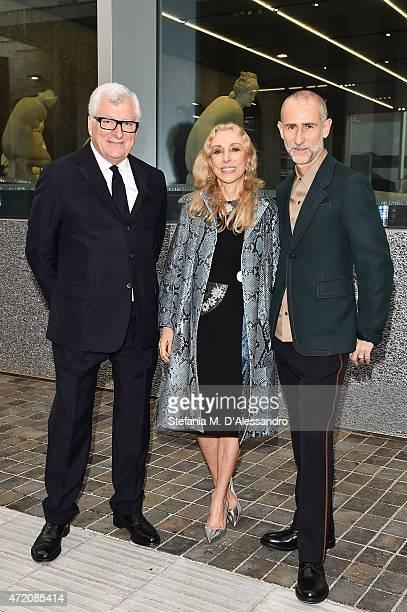 Patrizio Bertelli ,Franca Sozzani and Fabio Zambernardi attend the Fondazione Prada Opening on May 3, 2015 in Milan, Italy.