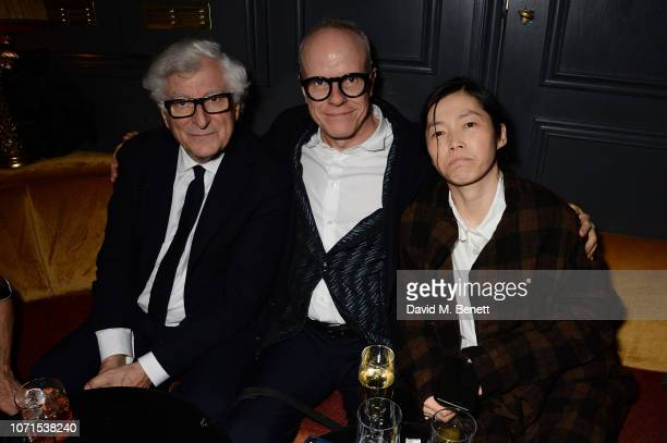 Patrizio Bertelli HansUlrich Obrist and Guest attend a party hosted by Katie Grand and Jefferson Hack in honour of Miuccia Prada winner of the...