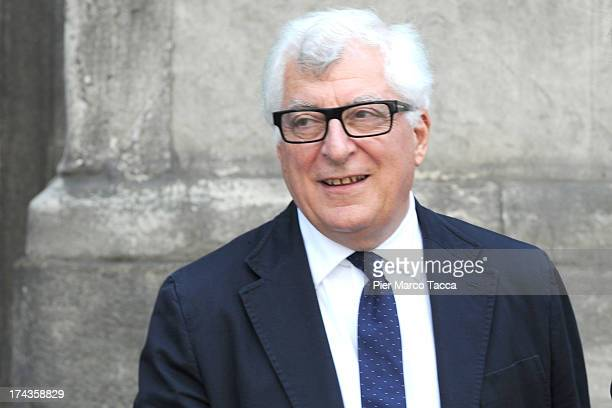 Patrizio Bertelli, member of Board Chamber of Fashion attends a meeting with the Mayor of Milan Giuliano Pisapia to develop the partnership between...