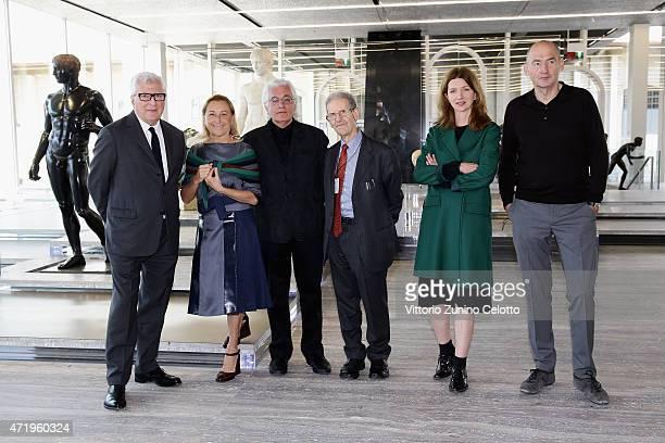 Patrizio Bertelli, Miuccia Prada, Germano Celant, Salvatore Settis, Astrid Welter and Rem Koolhaas attend Fondazione Prada Press Conference on May 2,...