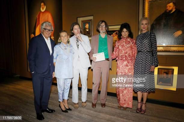 Patrizio Bertelli Miuccia Prada Wes Anderson Jarvis Cocker Juman Malouf and Nicole Kidman attend the Private Opening of 'Il Sarcofago di Spitzmaus e...