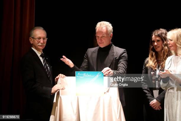 Patrizio Cencioni Sting and Trudie Styler attend Benvenuto Brunello 2018 at Teatro degli Astrusi on February 17 2018 in Montalcino Italy