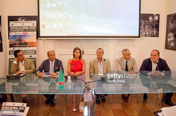 Patrizio Oliva Pascal Vicedomini and Marianna Vertola during the press conference Ischia Global Fest Film Music 2015 at Palazzo Portanna Naples