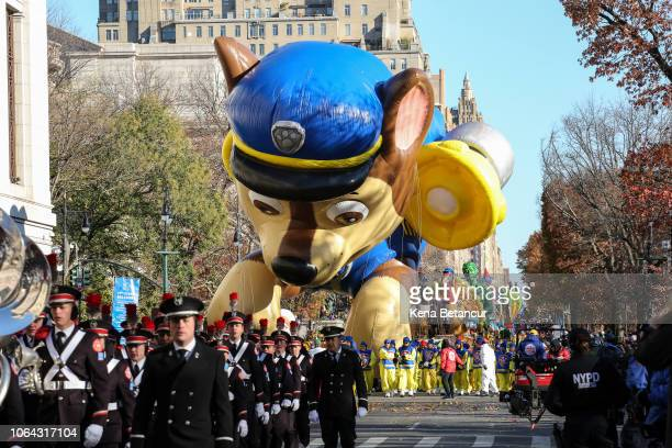 """Patrol"""" balloon floats during the 92nd annual Macy's Thanksgiving Day Parade on November 22, 2018 in New York City."""