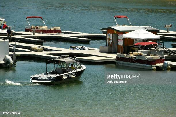 A patrol boat searches Lake Piru where actress Naya Rivera was reported missing Wednesday on July 9 2020 in Piru California Rivera known for her role...