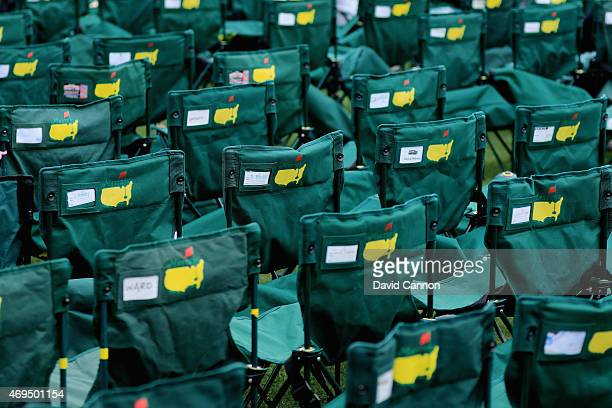 Patron chairs are seen during the final round of the 2015 Masters Tournament at Augusta National Golf Club on April 12 2015 in Augusta Georgia