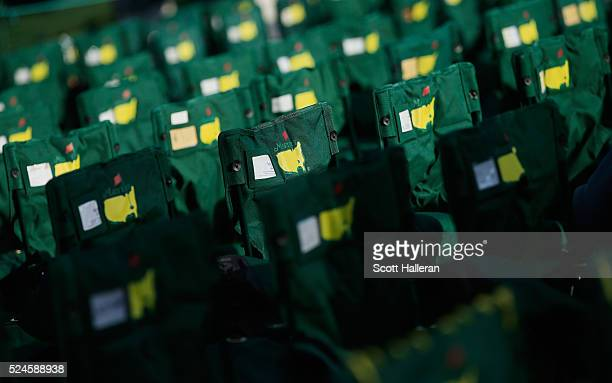 Patron chairs are seen near the 18th green before the final round of the 2016 Masters Tournament at the Augusta National Golf Club on April 10 2016...