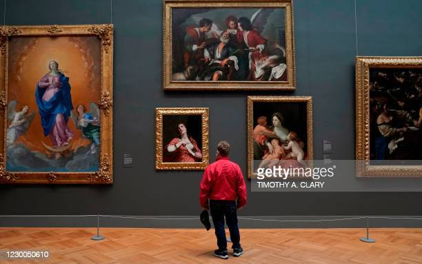 "Patron looks at paintings on display during a press viewing of ""A New Look at Old Masters"" a newly installed gallery for European Paintings, on..."