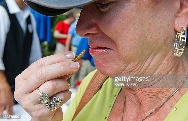 A patron makes a face as she prepares to eat a mealworm on June 4 2014 during a global Pestaurant event sponsored by Ehrlich Pest Control held at the...