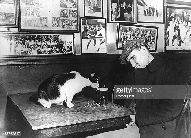 Patron of 'Sammy's Bowery Follies,' a downtown bar, sleeping at his table while the resident cat laps at his beer, New York, New York, circa 1944....