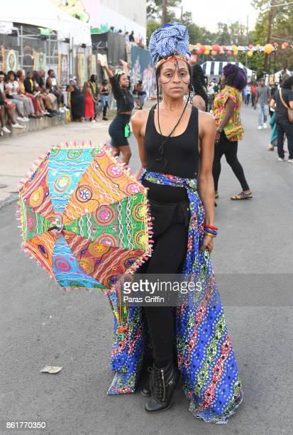 Patron poses for a photo at AfroPunk Festival Atlanta at Mechanicsville on October 15 2017 in Atlanta Georgia