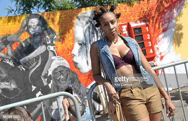 A patron poses for a photo during the 12th Annual Afropunk Brooklyn Festival at Commodore Barry Park on August 28 2016 in New York City