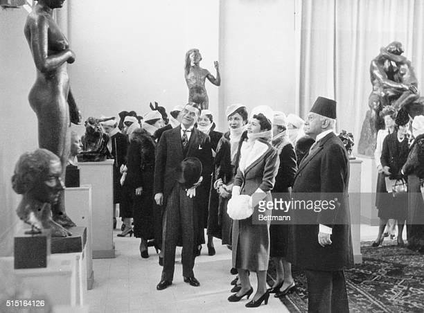 A patroness of the arts HRH Queen Farida of Egypt charming consort of youthful King Farouk attends the opening of the Sculpture Exhibition of 19th...