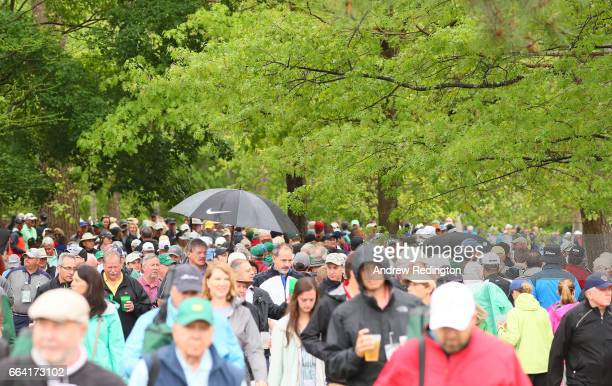 Patrons are seen during a practice round prior to the start of the 2017 Masters Tournament at Augusta National Golf Club on April 3 2017 in Augusta...