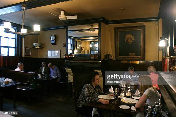 Patrons are seen having lunch in the Chop Room of Ye Olde Cheshire Cheese 145 Fleet St London on Tuesday October 11 2005 The Victorian London of...