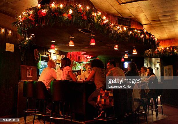 Patrons at the bar in the Tonga Hut LA's oldest tiki bar in North Hollywood will celebrates it's 50th anniversary Owners are Ana Reyes Jeremy Fleener...
