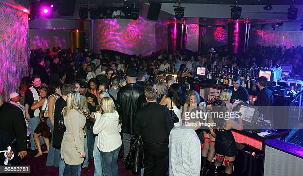 Patrons attend the grand opening of the Seamless Adult Ultra Lounge early December 18 2005 in Las Vegas Nevada