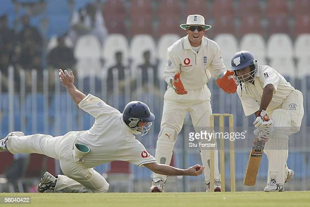 Patrons batsman Yasir Arafat is caught by Fielder Andrew Strauss off the bowling of Shaun Udal for 16 during the second day of the three day game...