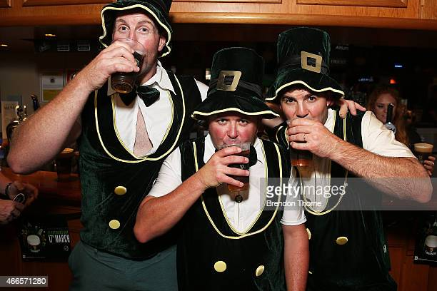 Patrons celebrate St Patrick's Day at the Orient Hotel on March 17 2015 in Sydney Australia March 17th commemorates Saint Patrick and the arrival of...