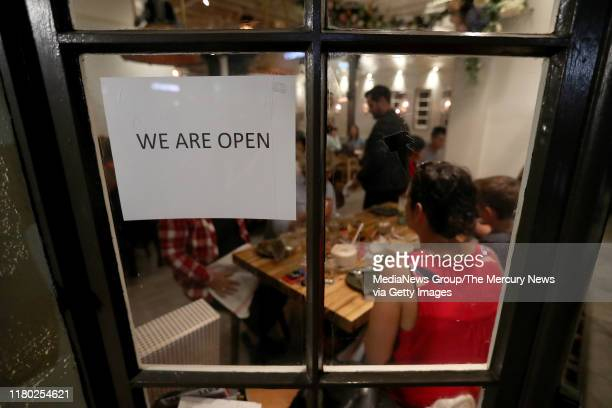 Patrons dine at Daughter Thai Kitchen in the Montclair District of Oakland, Calif., on Wednesday, Oct. 9, 2019. Power was supposed to go out at noon...