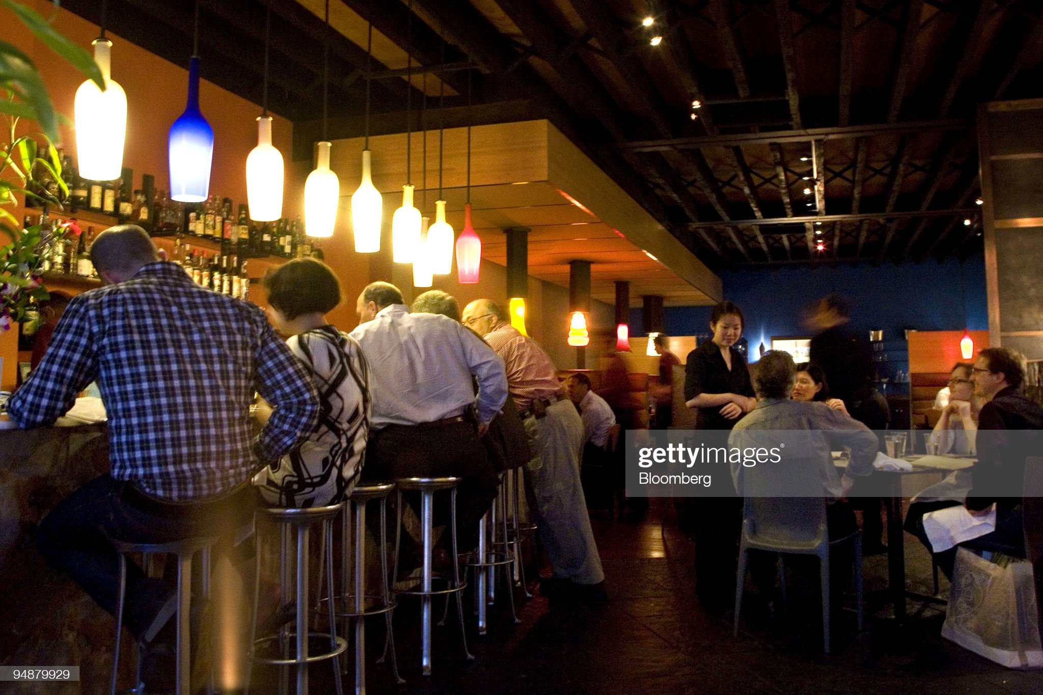 Patrons drink and dine at WD-50, a restaurant located at 50 : News Photo