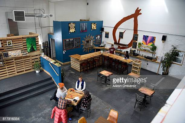 Patrons drink kombucha during the middle of the day Happy Leaf Kombucha Denver's first kombucha taproom will move from its current RiNo location...
