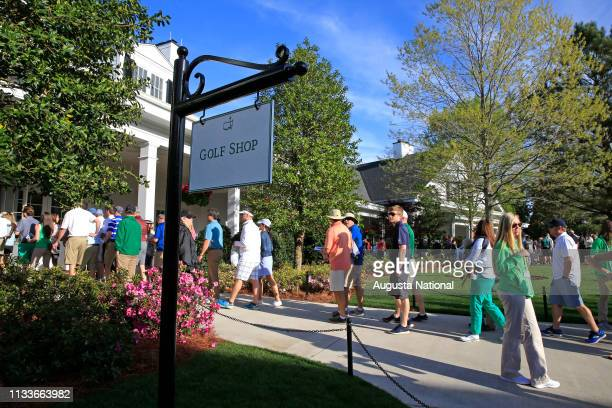 Patrons enter the new Golf Shop during Practice Round 1 for the Masters at Augusta National Golf Club Monday April 2 2018