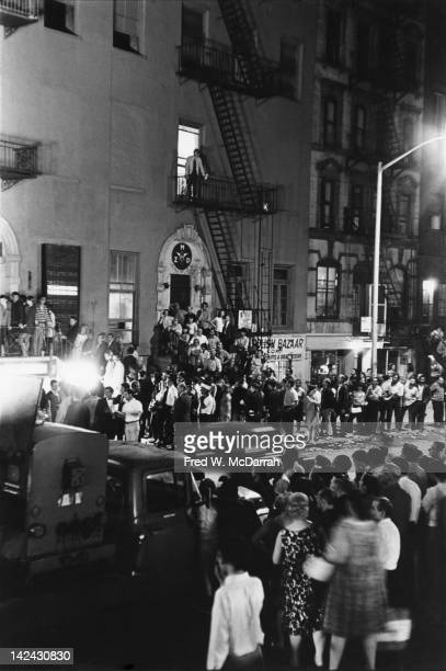 Patrons gather outside the entrance to the Electric Circus nightclub at The Dom New York New York June 27 1967
