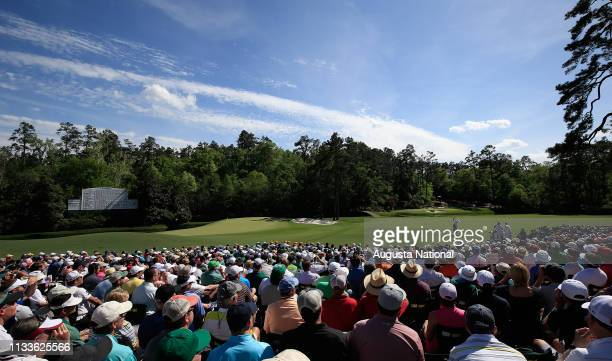 Patrons in Amen Corner watch Sergio Garcia of Spain tee No 12 during the third round of the Masters at Augusta National on Saturday April 11 2015