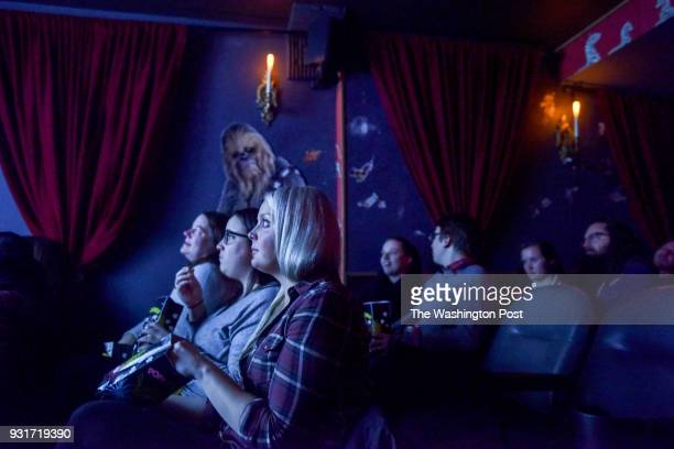 Patrons including Kate Gibbs L Julie Marshall 2nd from L and Brittany McGaughan gather for the screening of 'BYT Murder Club Murder by Death' at Suns...