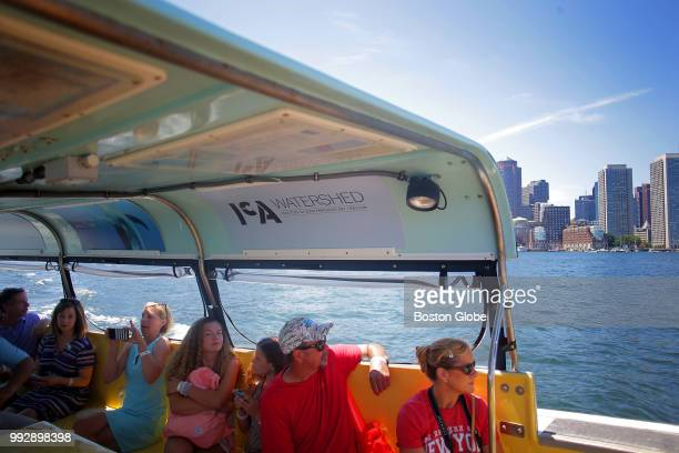 Patrons of the Institute of Contemporary Art, Boston take the water shuttle over to East Boston to visit the museum's new gallery space on July 4,...
