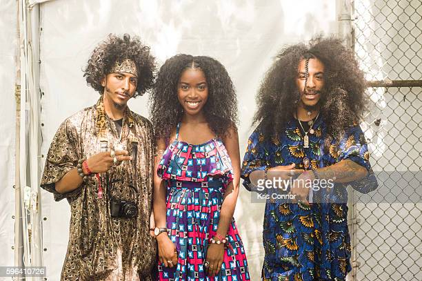 Patrons pose a photo during the 12th Annual Afropunk Brooklyn Festival at Commodore Barry Park on August 27 2016 in New York City
