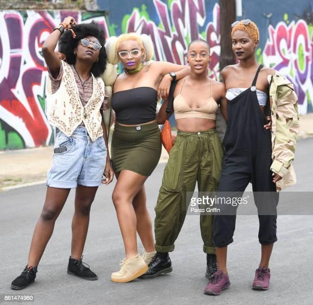 Patrons pose for a photo at AfroPunk Festival Atlanta at Mechanicsville on October 14 2017 in Atlanta Georgia