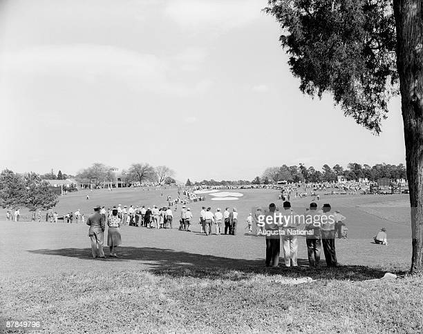 Patrons watch the action on the seventh hole during the 1947 Masters Tournament at Augusta National Golf Club in April 1947 in Augusta Georgia
