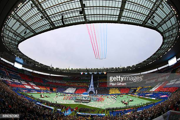 Patrouille de France flies over the stadium during the opening ceremony prior to the UEFA Euro 2016 Group A match between France and Romania at Stade...