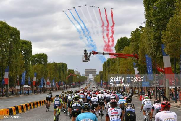 Patrouille de France / Plane / Smoke / Paris City / Arc De Triomphe / Peloton / Landscape / during the 105th Tour de France 2018 Stage 21 a 116km...
