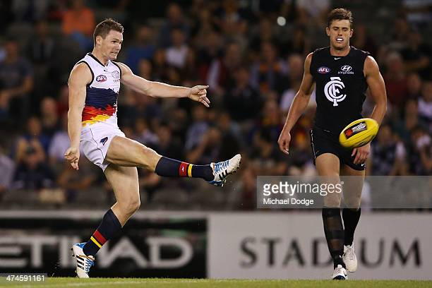 Patrrick Dangerfield of the Crows kicks the ball for a supergoal during the round three AFL NAB Challenge match between the Carlton Blues and the...