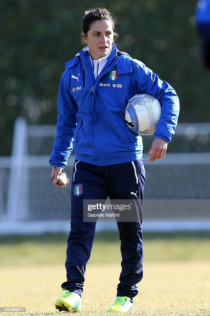 """Patrizia Panico, Head Coach of Italy U16. After a very successful career as a footballer, Panico made history by becoming manager of Italy's U16 national team. She is optimistic about what her appointment means for other women in football, but has said """"we still have to knock down plenty more walls""""."""